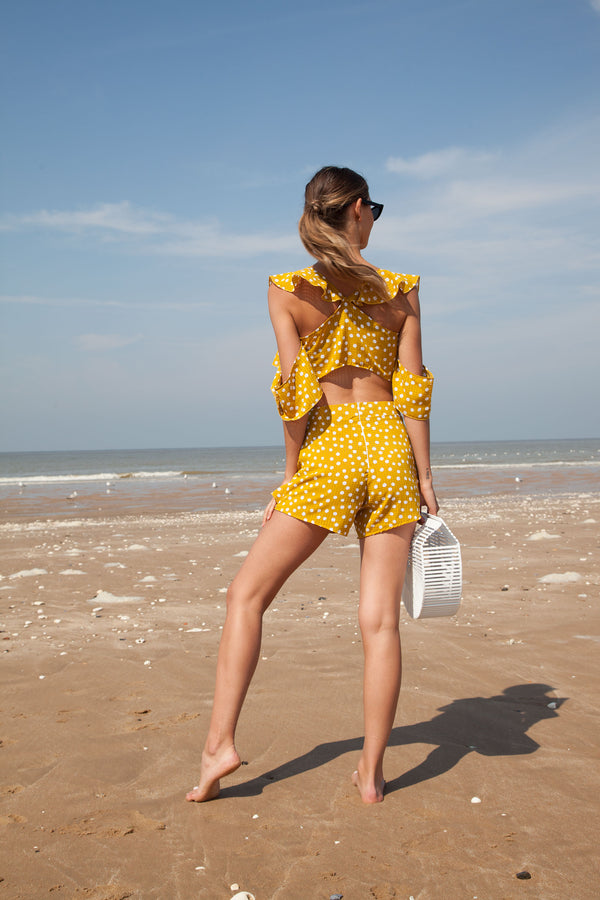 Mustard Spot Frill Top & Shorts Set
