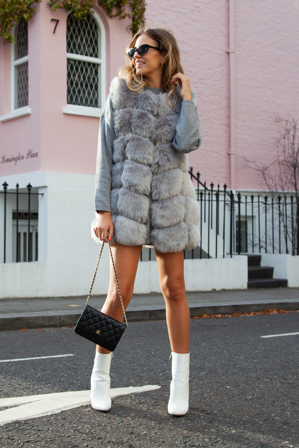 Soho Grey Faux Fur Panelled Gilet