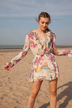 Multi Floral Frill Long Sleeve Playsuit