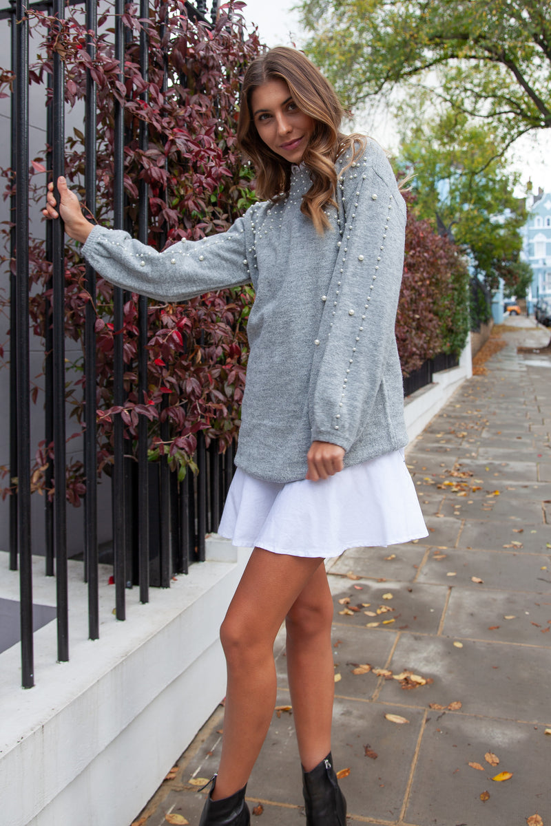 Pearl Sleeve Longline Jumper in Grey
