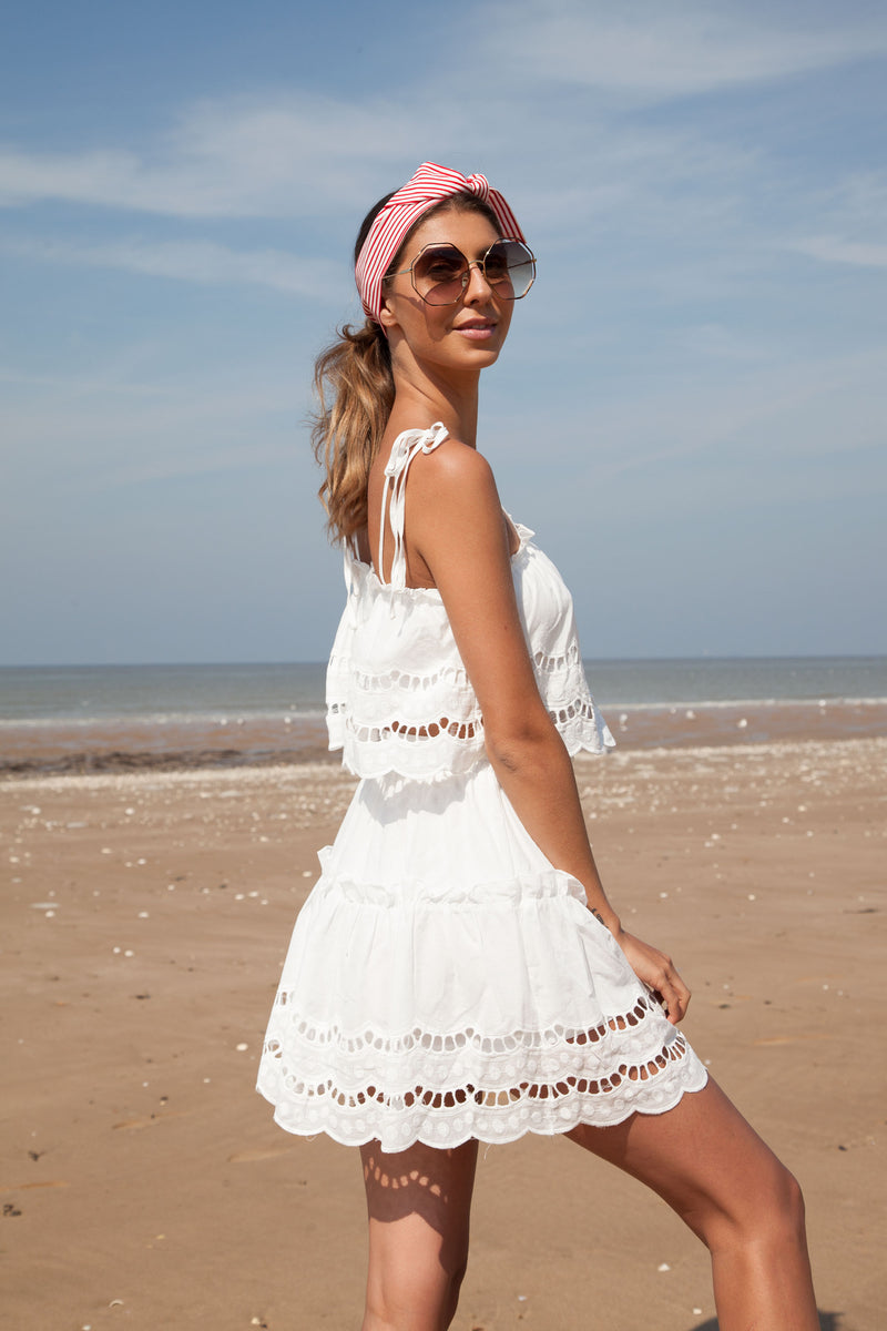 White Broderie Cami Top & Skirt Set