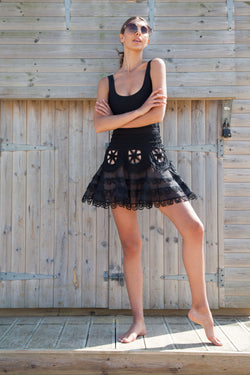 Black Scallop Hem Mini Skirt