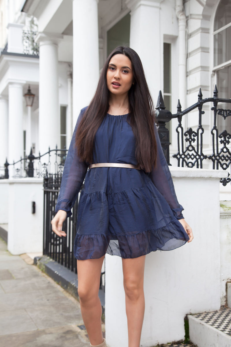 Navy Blue Shimmer Silk Peplum Frill Tunic Dress
