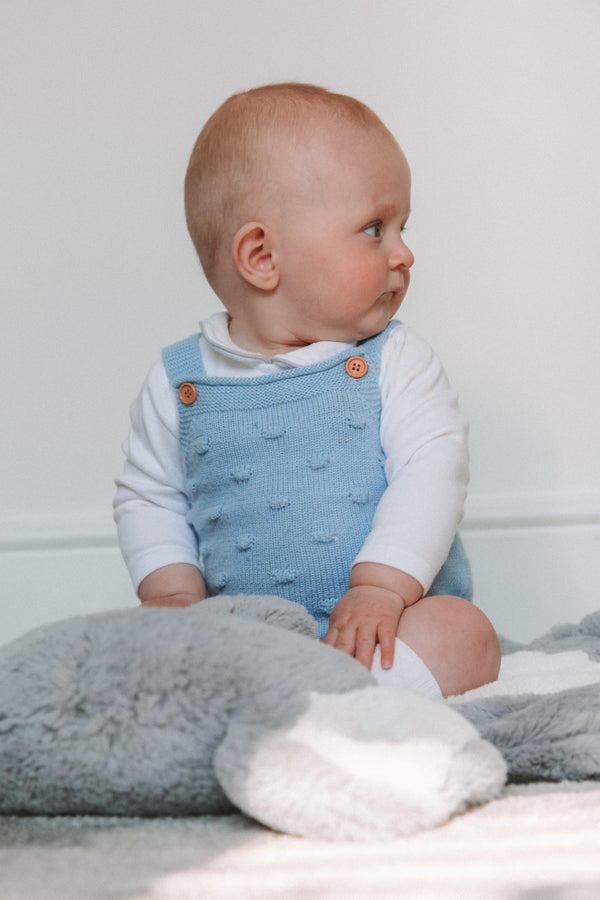 Baby Blue Bobble Knitted Romper