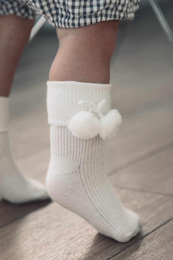 Off White Pink Pom Pom Socks