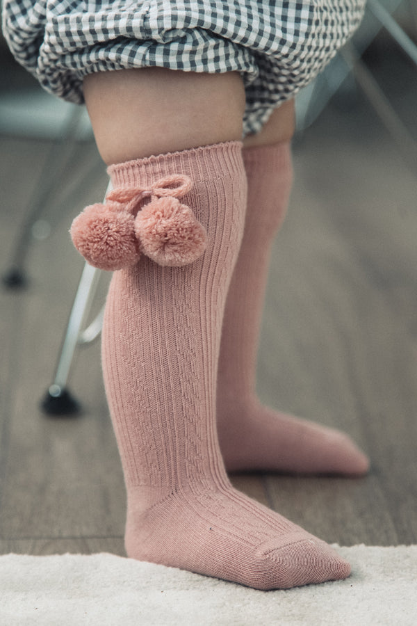 Dusky Pink Pom Pom Knee High Socks