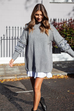 Soft Knit High Neck Sequin Sleeve Jumper in Grey