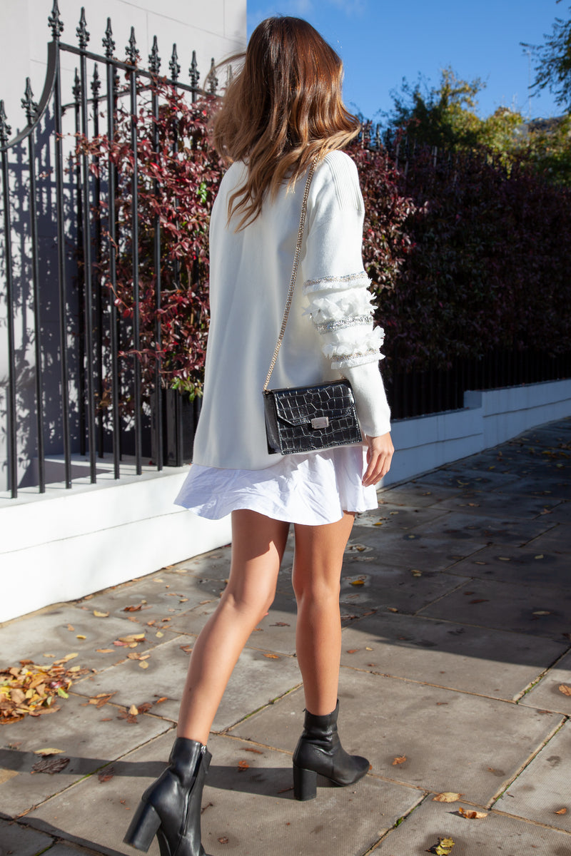 Soft Knit High Neck Sequin Sleeve Jumper in Cream