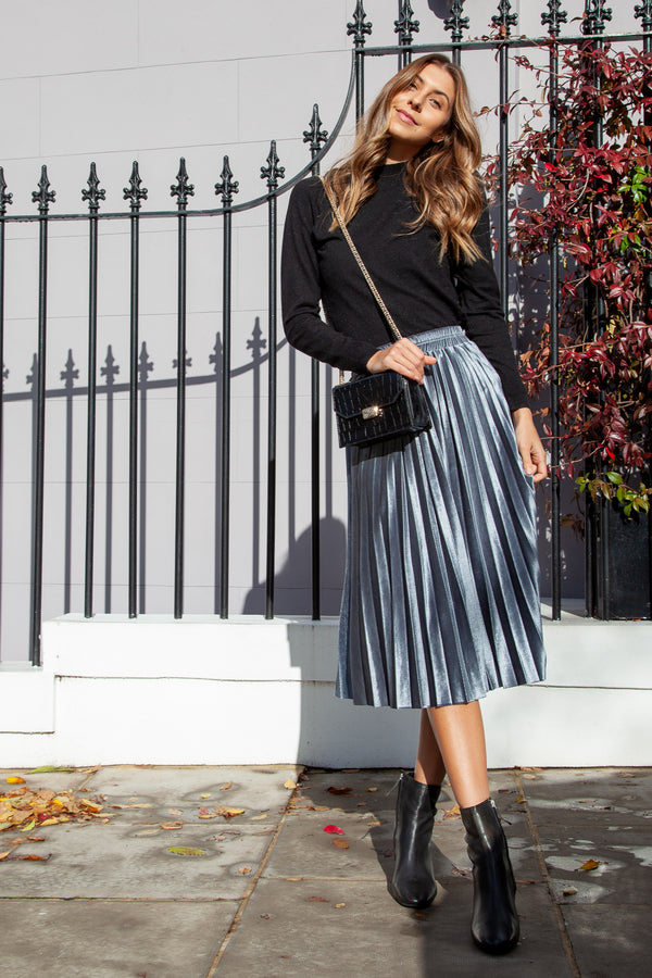 Silver Velvet Pleated Midi Skirt