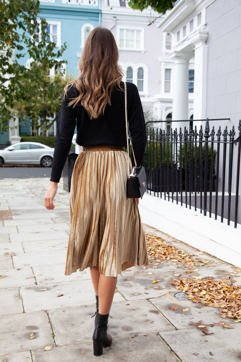 Gold Velvet Pleated Midi Skirt