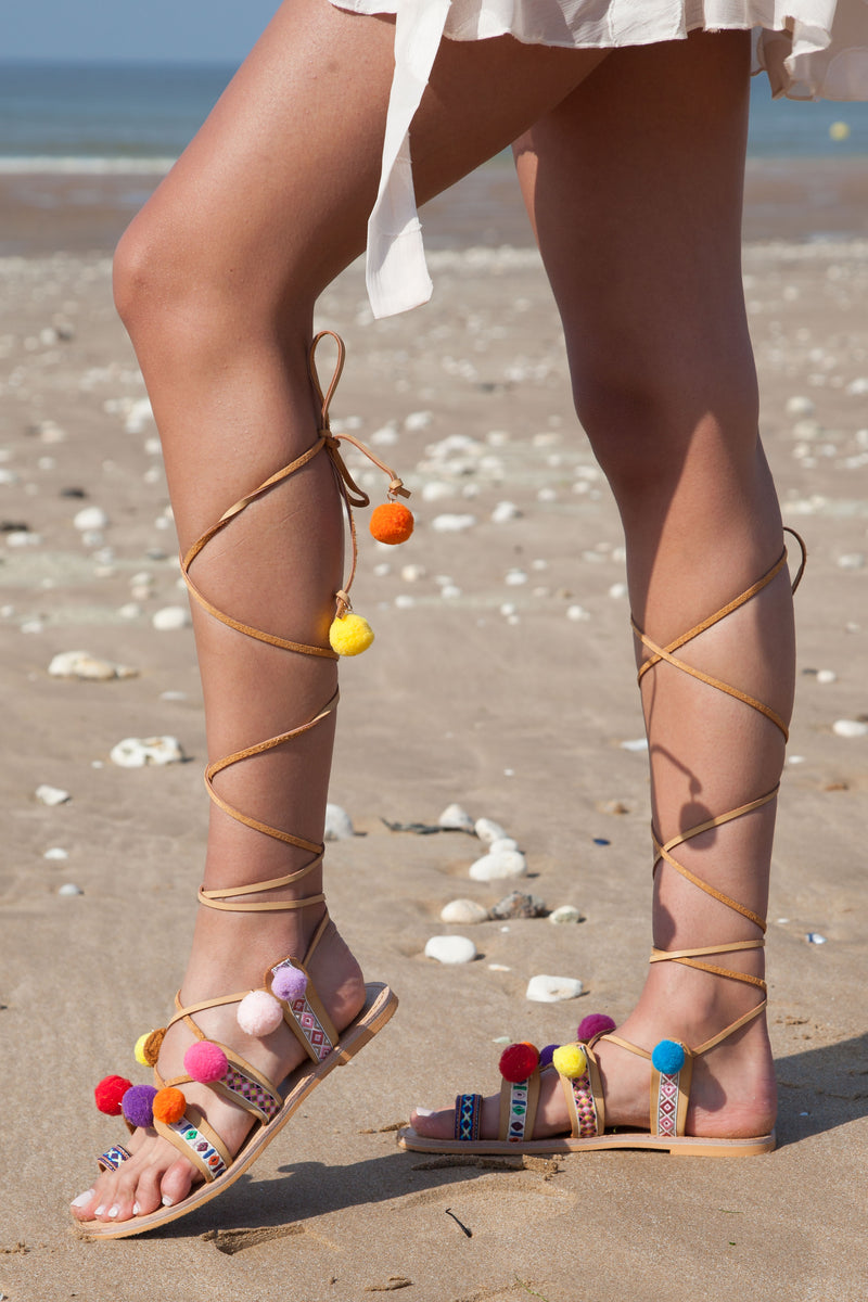 Pom Pom Lace Up Boho Sandals