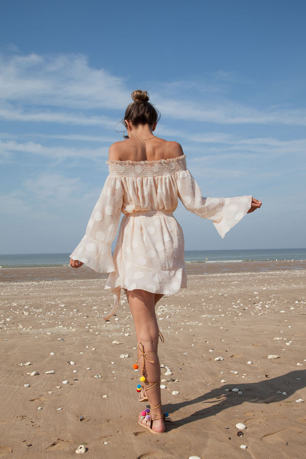 Off Shoulder Spot Beach Mini Dress in Cream