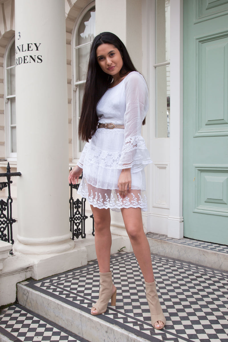 White Lace Contrast Silk Dress