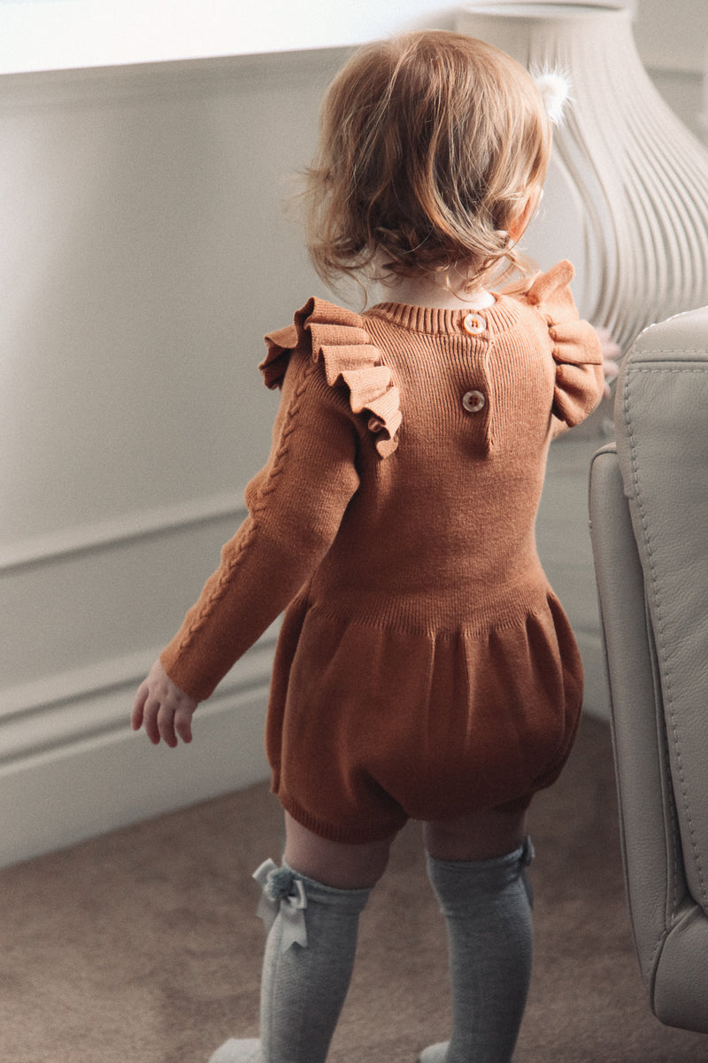 Copper Long Sleeve Cable Knitted Romper