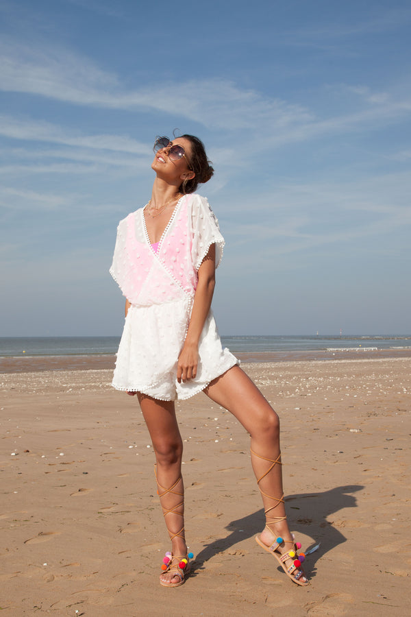 White Short Sleeve Plunge Spot Playsuit