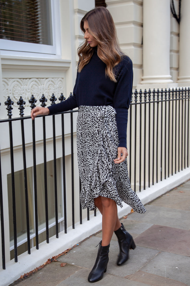 Black Leopard Wrap Frill Midi Skirt