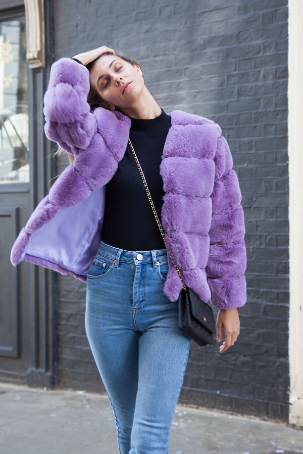 Luxe Faux Fur Panelled Jacket in Lilac