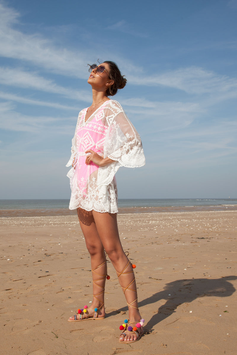Embroidered Tulle Kaftan Tie Top