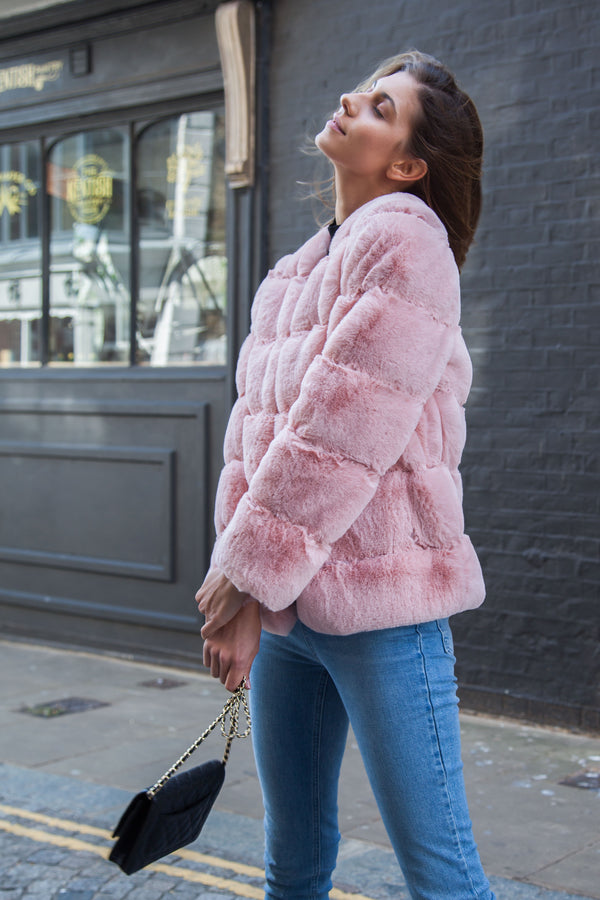Luxe Faux Fur Panelled Jacket in Pink