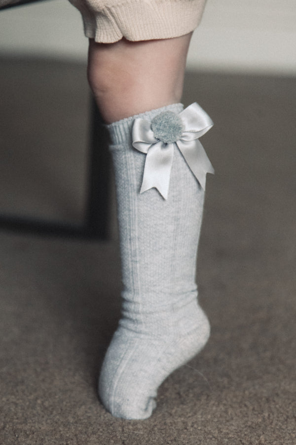 Grey Bow Pom Pom Knee High Socks