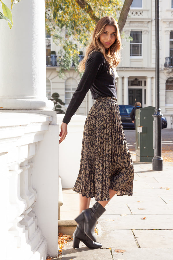 Khaki Leopard Pleated Midi Skirt