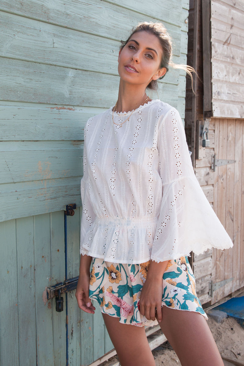 White Bell Sleeve Broderie Top