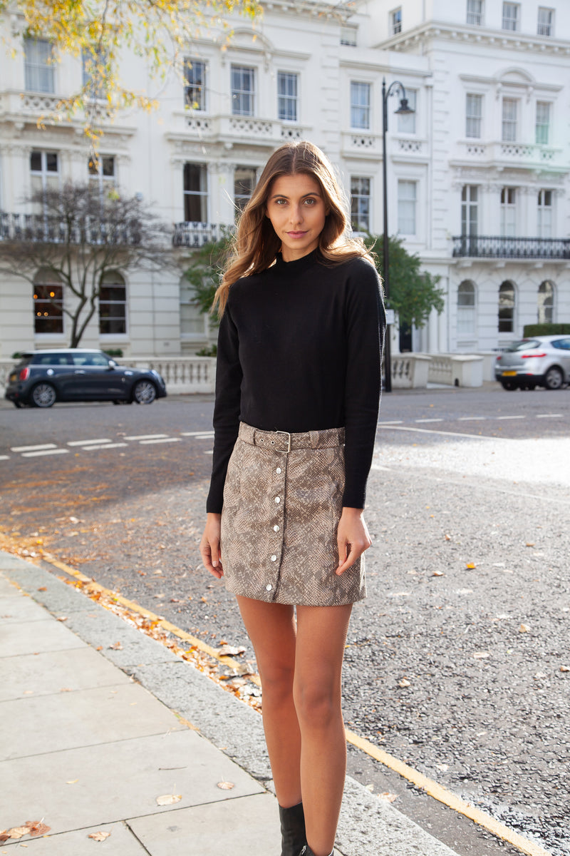 Snake Effect Mini Skirt
