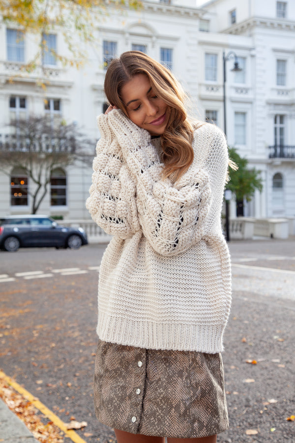 Ultra Soft Bobble Knit Jumper in Cream
