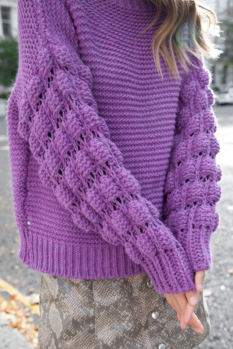Ultra Soft Bobble Knit Jumper in Lilac
