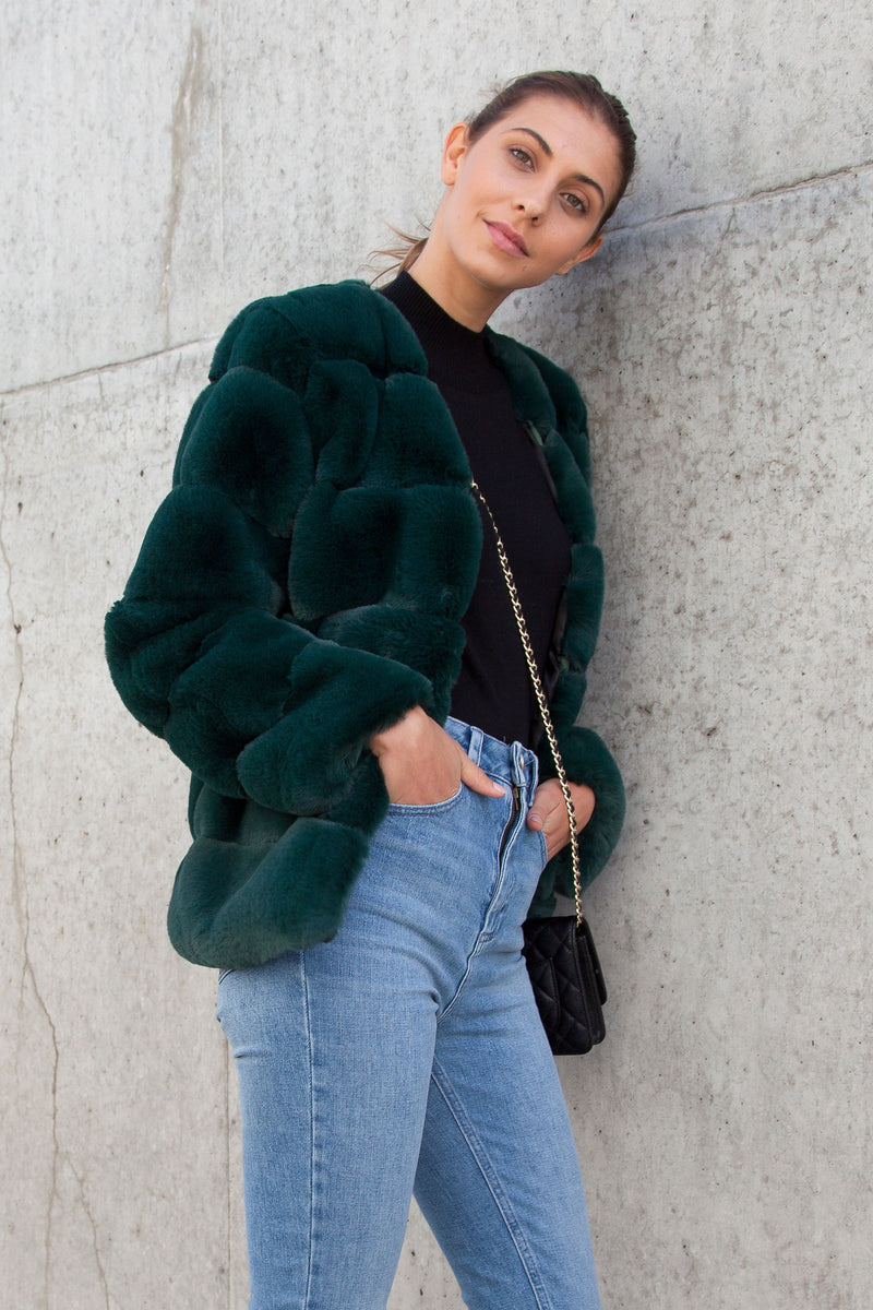 Luxe Faux Fur Panelled Jacket in Dark Green