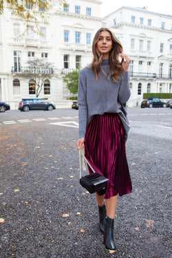 Burgundy Velvet Pleated Midi Skirt