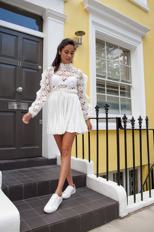 Styled in London Website, Styled in London Clothes, Styled in London Dress, Crochet Lace Long Sleeve Top Blouse, Spring Dress, SilkFred Brand, Leia Crochet Lace Long Sleeve Top