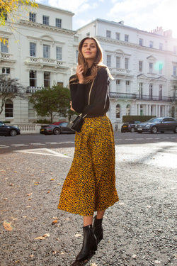 Mustard Leopard Pleated Long Midi Skirt