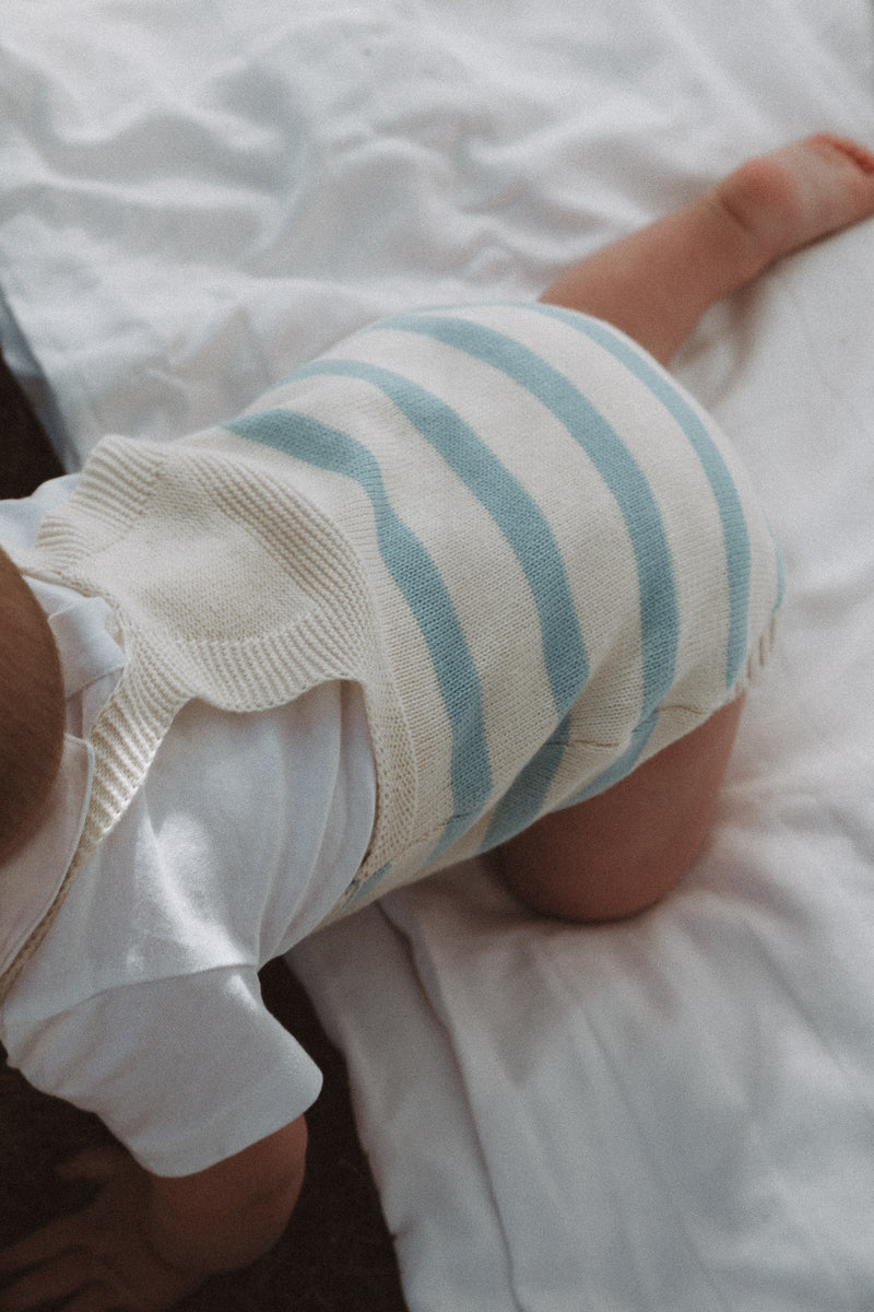 Cream/Blue Stripe Knitted Romper