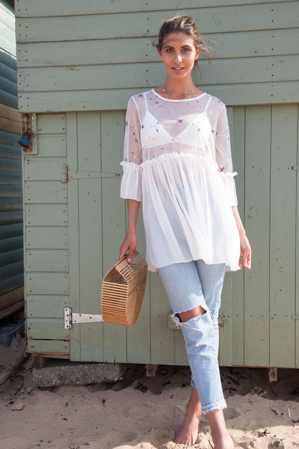 Oversized Embroidered Mesh Frill Top In White