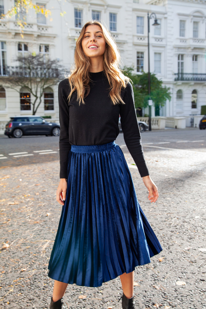 Navy Velvet Pleated Midi Skirt