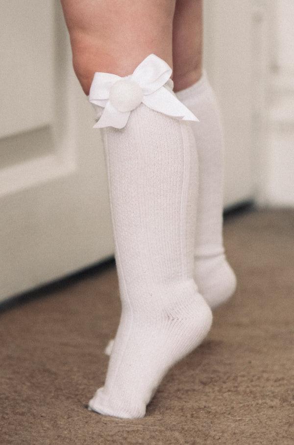 White Bow Pom Pom Knee High Socks