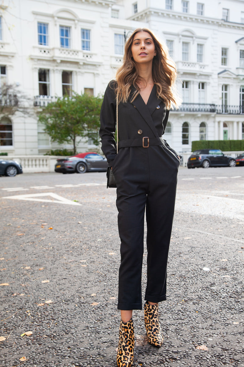 Blazer Style Long Sleeve Jumpsuit in Black