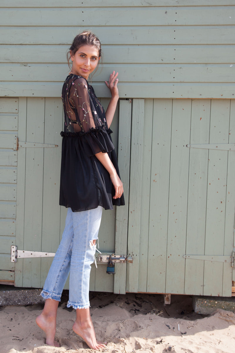 Oversized Embroidered Mesh Frill Top In Black