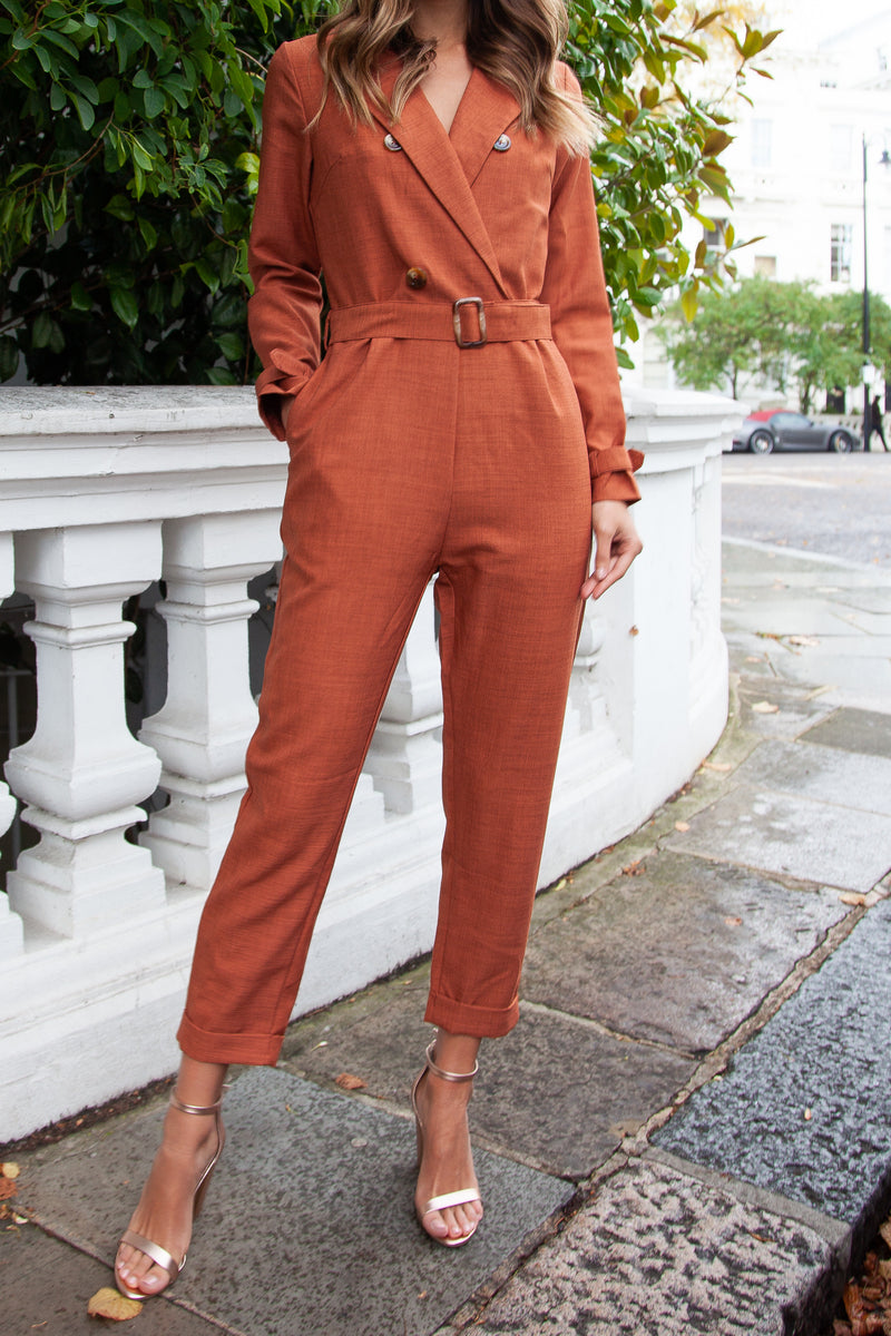 Blazer Style Long Sleeve Jumpsuit in Rust