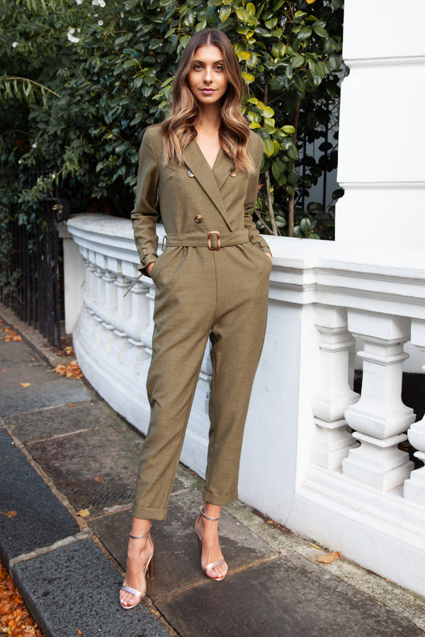 Blazer Style Long Sleeve Jumpsuit in Khaki