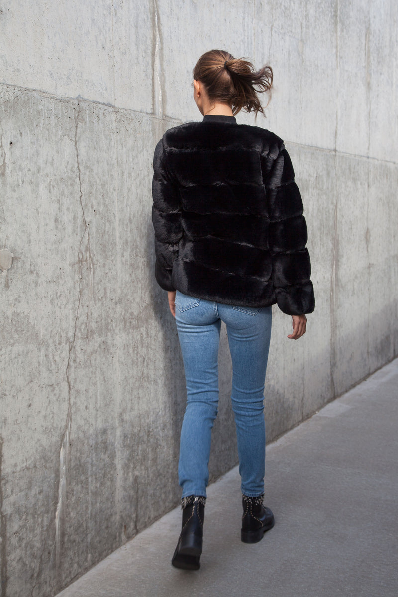 Soho Faux Fur Panelled Jacket in Black
