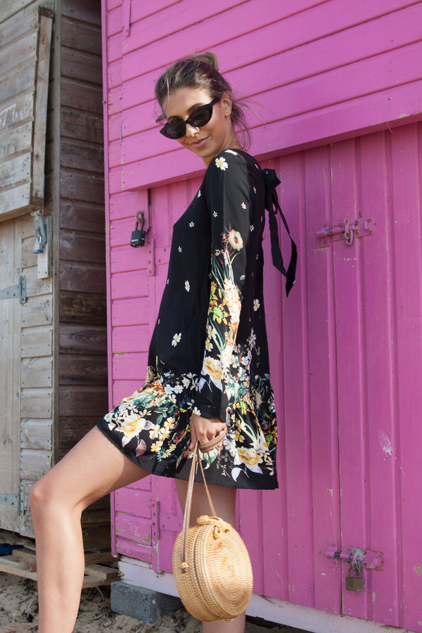 Floral Long Sleeve Peplum Playsuit