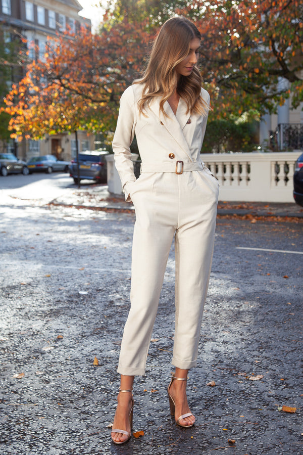 Blazer Style Long Sleeve Jumpsuit in Beige