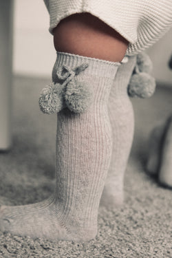 Grey Pom Pom Knee High Socks