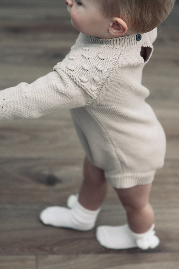 Soft Beige Bobble Long Sleeve Knitted Romper