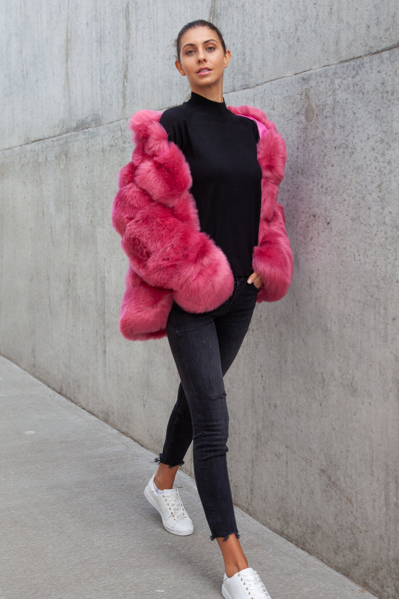 Soho Padded Faux Fur Coat in Pink