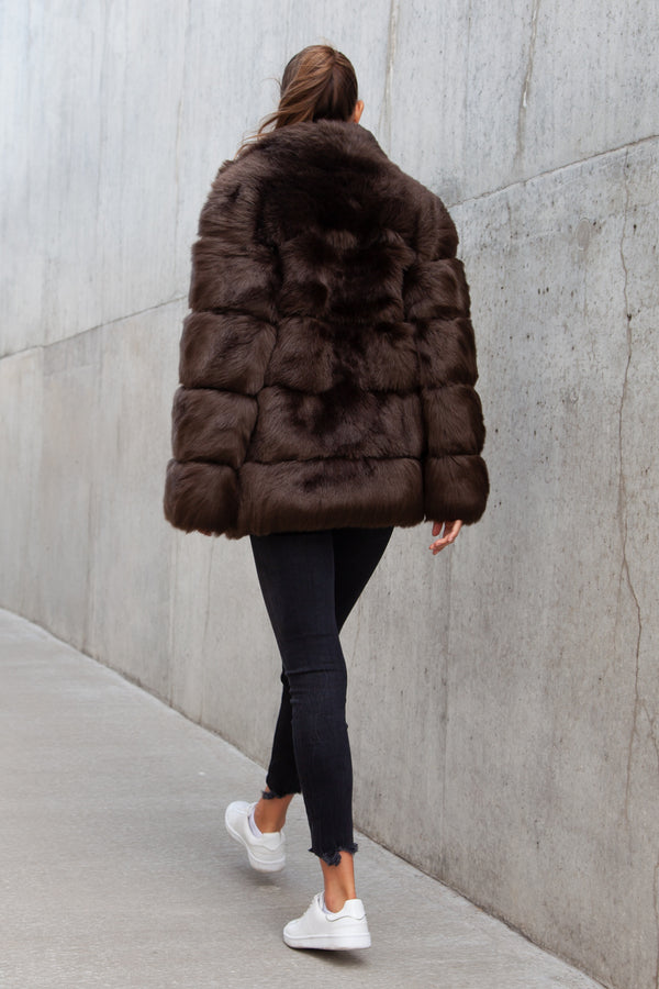 Soho Padded Faux Fur Coat in Chocolate Brown