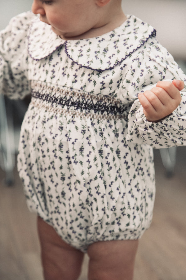 Purple Floral Cotton Collar Smocked Romper (and bonnet)