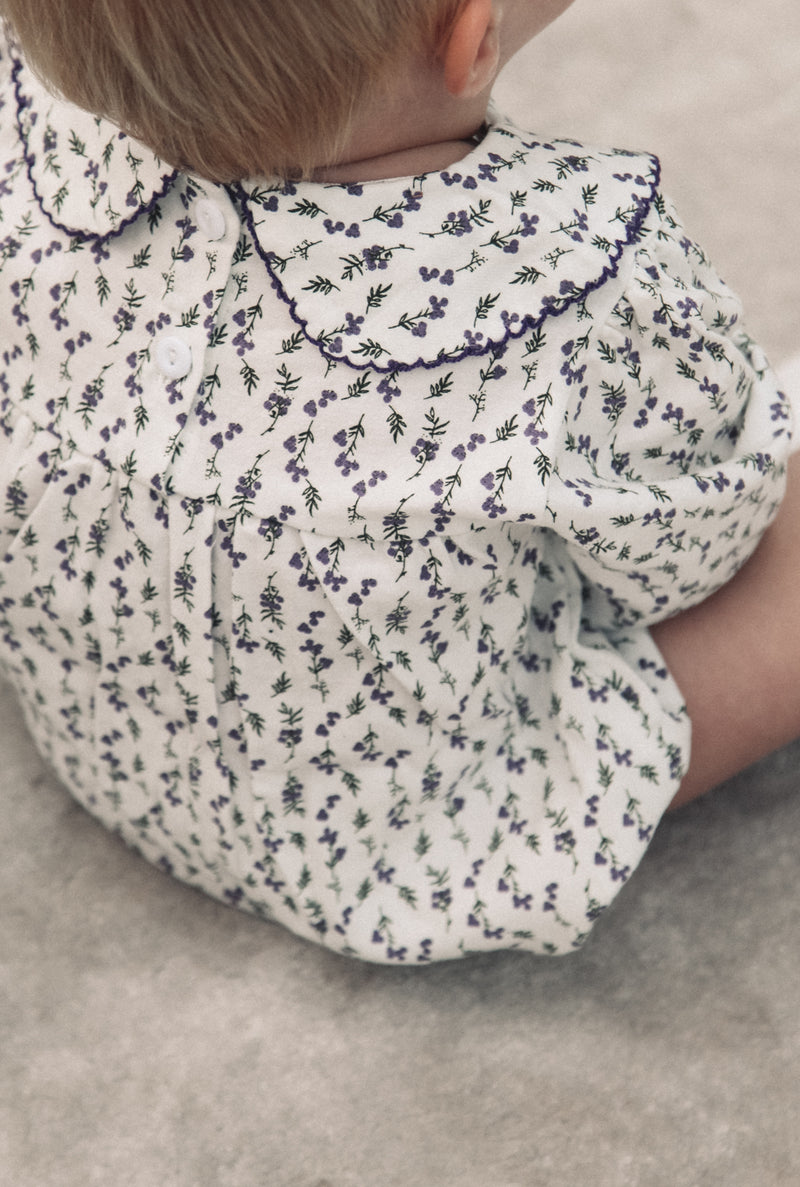 Purple Floral Cotton Collar Romper